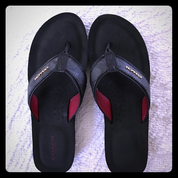 31eaef03bef3 Coach Shoes - Black Coach Judy flip flops size 8.5